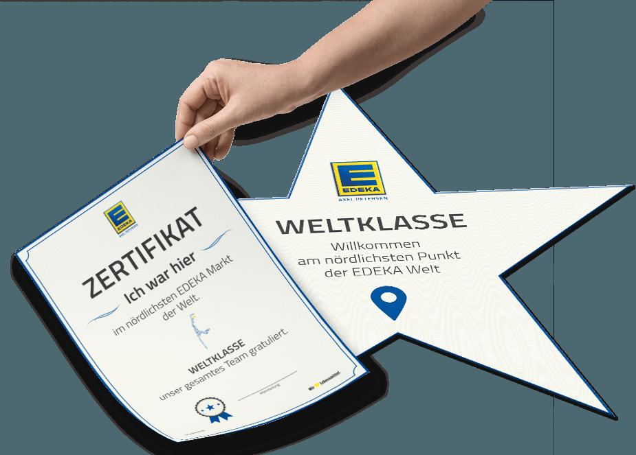 Zertifikat und Bodenkleber